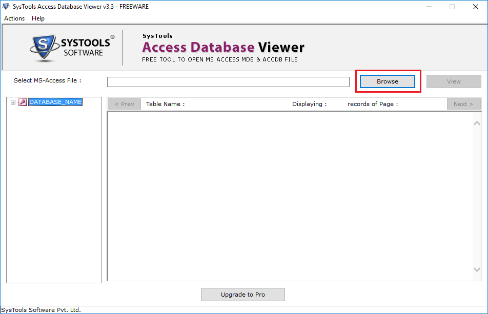 Browse Access Database MDB File