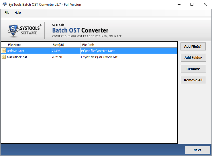 View Files to Convert OST in Bulk