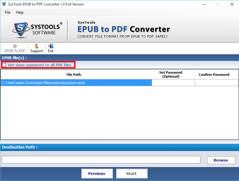 Set All EPUB Details to PDF