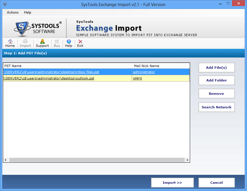 View All Mailboxes To Import PST File