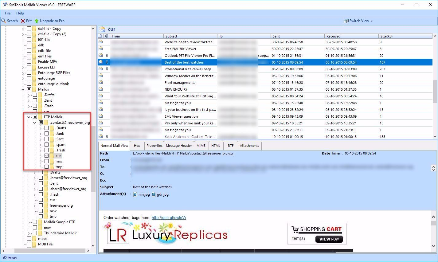 Preview Maildir Files in Different views