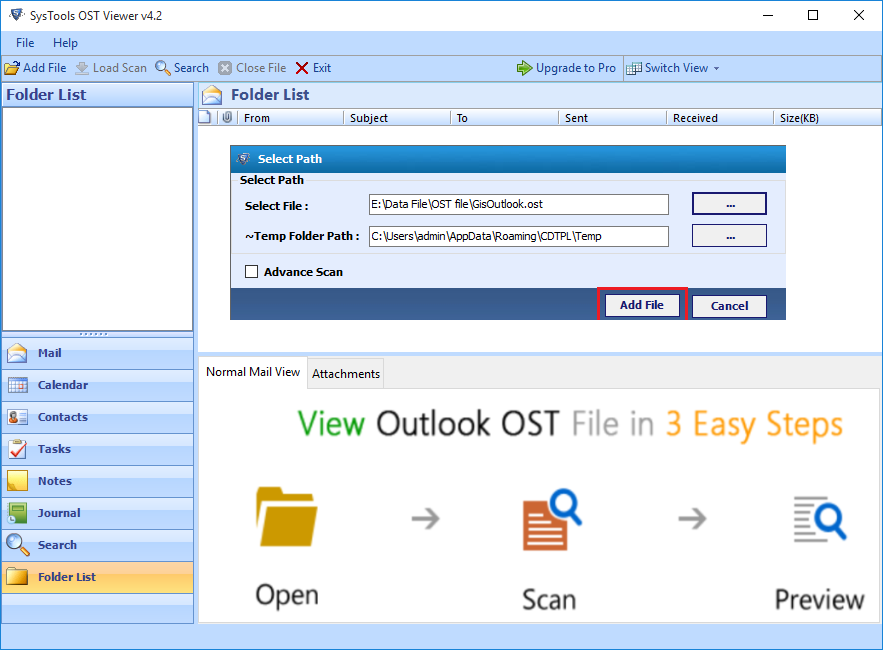 ADD Outlook OST